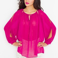 Cut Chiffon Blouse - NASTY GAL
