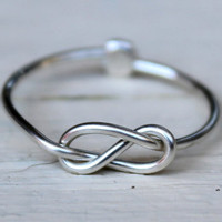 Knuckle Ring : Tiny Delicate Silver Plated Wire Infinity Knot Ring, First Knuckle Ring, Hand Bent, Friendship, Promise, Reminder, Adjustable