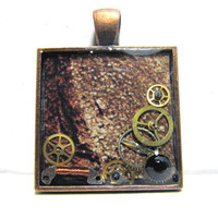 Antique Bronze Steampunk Square Resin Pendant