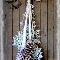 White Glittered Snow Flake,silver bellsand flocked Pine cone wreath chair tieback Gifts under 25