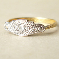 Antique Engagement Ring, Art Deco Diamond Ring, Platinum 18k Gold Ring, Diamond Platinum 18k Gold Wedding Ring Approx. Size US 5.25