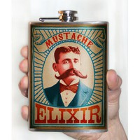 Flask - 8oz. - Mustache Elixer - Stainless Steel by Trixie and Milo