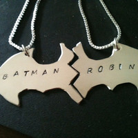 Batman Best Friend necklaces in copper ,sterling silver , Nu gold  bracelet , key chain , Personalized, custom with  CHAINS