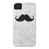 Funny Black Mustache And White Sparkle Bling iPhone 4 Covers from Zazzle.com