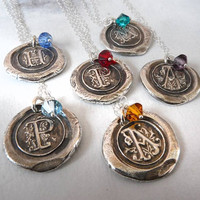 Personalized Monogram Wax Seal Necklace with Swarovski Crystal Birthstone Charm. Fine Silver Any Letter. Wax Seal Stamped Jewelry