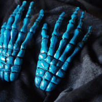 Neon Blue Skeleton Hand Hair Clips