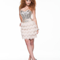 Champagne Sequin & Feather Strapless Sweetheart Lace Up Short Prom Dress - Unique Vintage - Homecoming Dresses, Pinup & Prom Dresses.