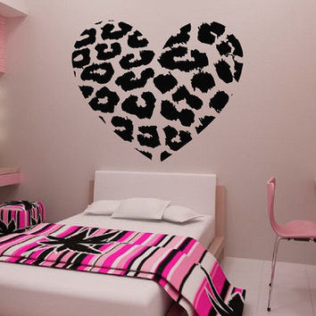 Leopard Spot Heart Vinyl Wall Decal Sticker Leopard Print