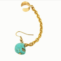 Ear Cuff With A Turquoise Skull Bead Skull Ear Cuff