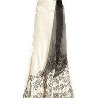 Kay Unger Embroidered silk-satin gown - 70% Off Now at THE OUTNET