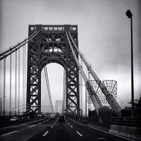 "NYC photos architecture George Washington Bridge black & white, 8x10"" print"