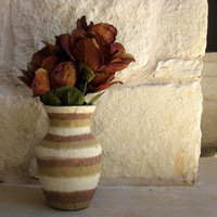brown Vase with ivory and tan Autumn Inspired by ArtByKristin