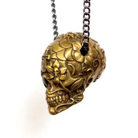 "Sugar Skull Necklace Burnished Yellow Bronze Sugar Skull Pendant Necklace on 32"" Gunmetal Chain- An Exclusive of Moon Raven Designs"