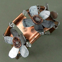 Copper and Steel Flower Bracelet Hand by FiredUpLadiesHammer