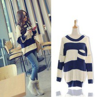 Fashion Women&#x27;s Loose stripe Knitwear Sweater Jumper Top UK/AU size 6-8-10(S-M)