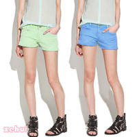 Women's Korean Low Rise Short Pants Stretch Candy Color Hot Pants Basic Jeans