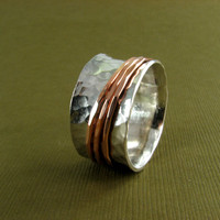 Spinner Ring - Hammered Silver Ring with Copper Spinners - Made to Order in Your Size