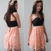 BLACK PEACH LOVE HEART BUSTIER LACE SCALLOPED HEM BANDEAU DRESS 6 8 10 12