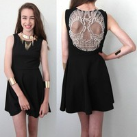 BLACK GRUNGE ROCK FESTIVAL SHEER MESH SKULL BACK BACKLESS SKATER DRESS 8 10 12
