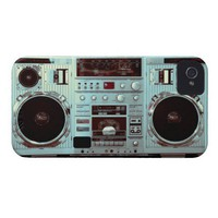 Aqua Boombox iPhone 4 Cases from Zazzle.com