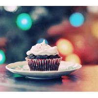 Food Photography, Christmas Cupcake, 5x7 Print, Colorful Photo, Holiday Lights, Red, Yellow, Green