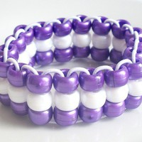 Purple & White Triple Strand Pearl Pony Bead Child's Elastic Bracelet