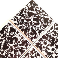 Black Floral Coasters, Ceramic Tile Set, Garima Dhawan, Black White, Lace Flowers, Table Protection