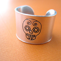 Skull Ring - Sugar Skull Stamped Ring - Dia de los Muertos Ring - Thick 1/2 inch, Aluminum, Adjustable