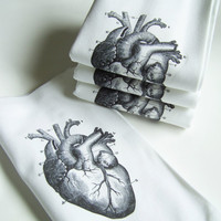 Love My (Anatomical) Heart Printed Cloth Hand Towel Napkins - Set of FOUR