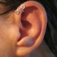 "Sterling Silver No Piercing Handmade Helix Cuff Ear Cuff ""Spiral Up"" 1 Cuff"