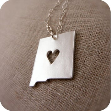 New Mexico State Necklace in Silver with by DestinysCreations