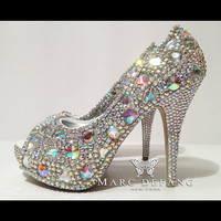 ULTIMATE Rainbow Snow Diamond,  LUXURY Bridal Crystal Platform Heels