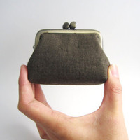 Frame Coin Purse- mini  jewelry case with ring pillow- brown linen