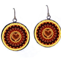 Flaming Heart Dangle Earrings Kaleidoscope Mandala Boho Jewelry -Burning Man Pyro Raver Hippie