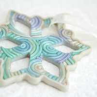Snowflake Christmas Ornament in Pastel Polymer Clay Filigree