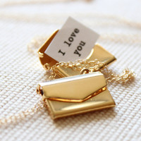 Gold Locket, Envelope with Secret Message Inside