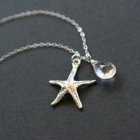 Gemstone and starfish necklace sterling silver by DelicacyJ