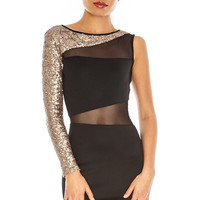 Black One Shoulder Sequin Mesh Dress