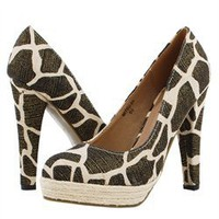 Giraffe Canvas Espadrille Platform High Heel Pumps