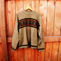 vintage oversized brown aztec grandpa sweater. unisex. size L