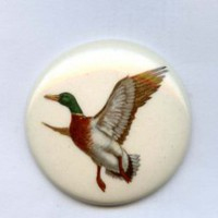Mallard duck in flight button huge ceramic vintage button