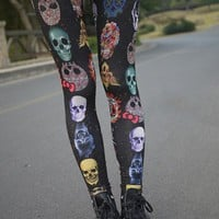OASAP - Skull Print Leggings - Street Fashion Store