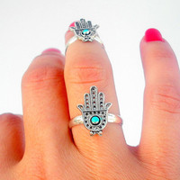 Protection  Set of 2 Hamsa Above The Knuckle Rings - 2 Silver Hamsa  Rings - Set of 2 by Tiny Box