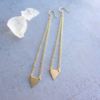 Minimalist dangle gold triangle long earrings, geometric jewelry, simple modern jewelry