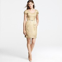 Metallic foil jacquard dress - J.Crew