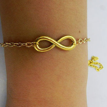 Unisex simple fashion golden infinity  wish  bracelet--Adjustable Golden 8 and chain  leather braided bracelet