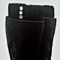 Black Boot Cuffs in Black Legwarmer Fall Autumn Accessory Fashion Gift