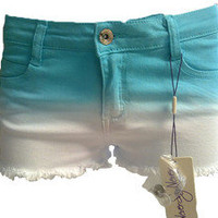 Face Off Denim Shorts - White with Blue - BNWT's