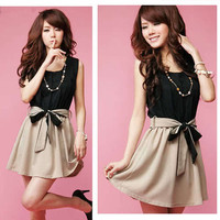 Fashion Women's Chiffon Lace Sexy Lady Casual Summer Mini Dress Belt Bowtie New