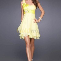 Chiffon One-shoulder with Ruched Bodice and A line Short Fashion Cocktail Dress - US$156.99 - Goldwo.com